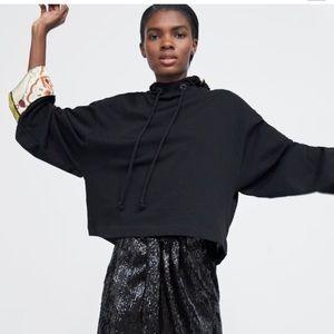 Zara Chain Print Hooded Cropped Sweatshirt NWT M